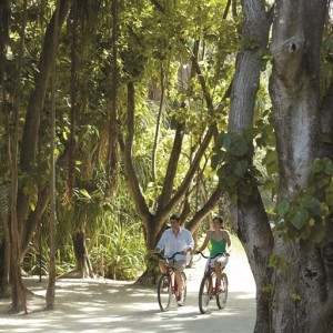Couple cycling around the resort