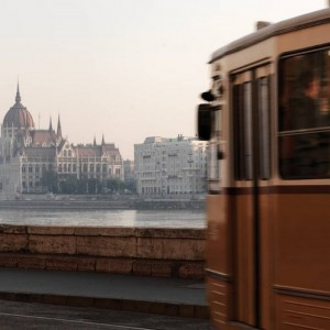 budapest Tram by the Danube River