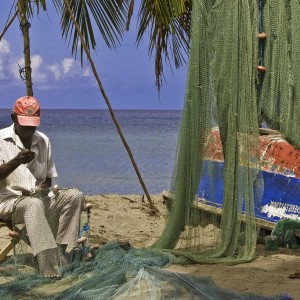 Fishermen mending Nets